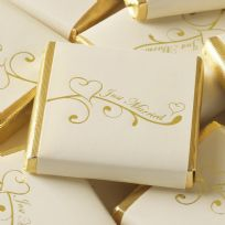 Contemporary Heart Chocolate Squares - Ivory & Gold (50)